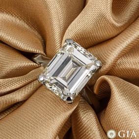 Platinum Emerald Cut Diamond Ring 8.02ct O-P/VS2